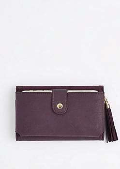 Dark Purple Tasseled Tri-Fold Wallet