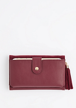 Burgundy Tasseled Tri-Fold Wallet