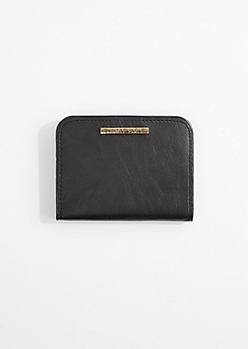 Black Faux Leather Scalloped Wallet By Rampage