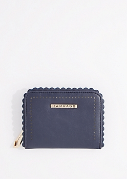 Blue Faux Leather Scalloped Waller By Rampage
