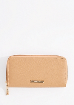 Cognac Double Zip Around Leather Wallet By Rampage