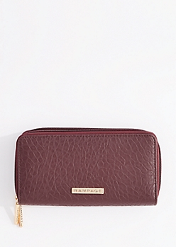Burgundy Double Zip Around Leather Wallet By Rampage