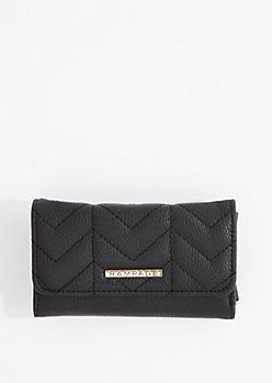Black Quilted Vegan leather Wallet By Rampage