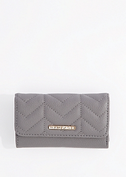 Gray Quilted Vegan leather Wallet By Rampage