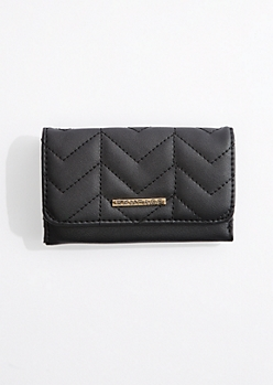 Black Quilted Tri-Fold Wallet By Rampage