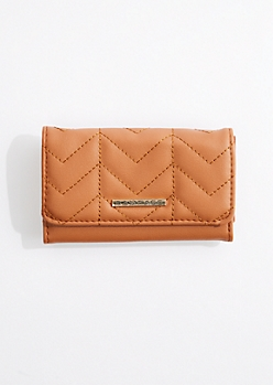 Cognac Quilted Tri-Fold Wallet By Rampage