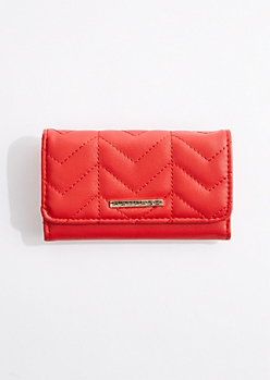 Red Quilted Tri-Fold Wallet By Rampage