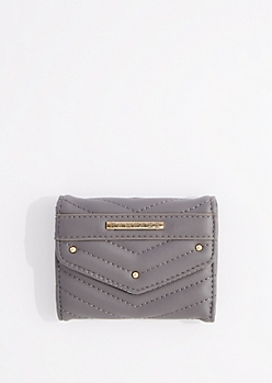 Gray Quilted Tri-Fold Wallet By Rampage