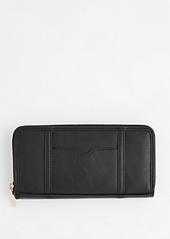 Black ID Pocket Zip Up Wallet