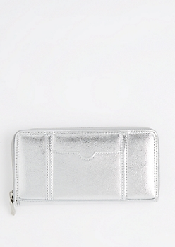 Silver ID Pocket Zip Up Wallet