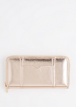 Rose Gold ID Pocket Zip Up Wallet