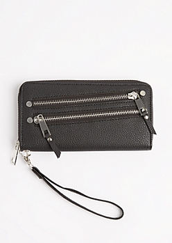 Double Zip Tasseled Wristlet