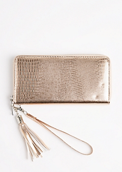 Rose Gold Snakeskin Metallic Wristlet