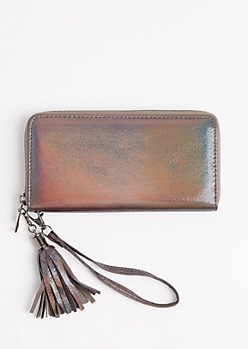 Gunmetal Holographic Wristlet