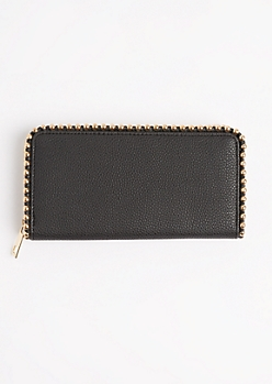 Studded Faux Leather Wristlet