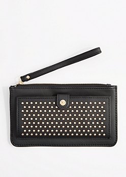 Black Studded Pocket Wristlet