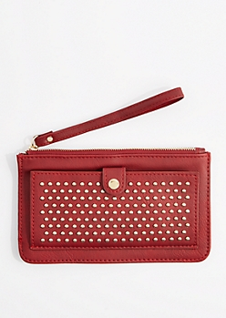 Burgundy Studded Pocket Wristlet