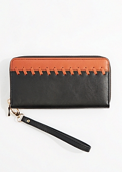 Black & White Whipstitched Wristlet