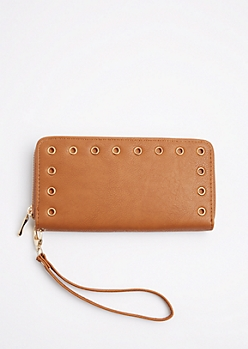 Brown Grommet Wristlet