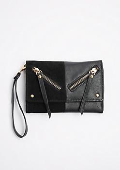 Black Split Double Zip Wristlet
