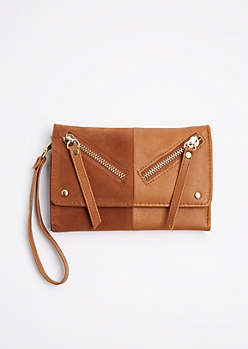 Brown Split Double Zip Wristlet