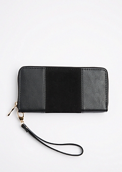 Black Suede Patched Wristlet