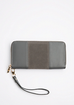 Gray Suede Patched Wristlet