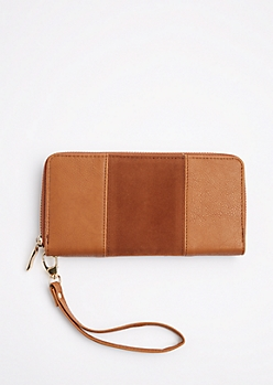 Brown Suede Patched Wristlet