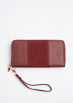 Burgundy Suede Patched Wristlet