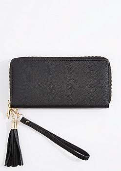 Black Tasseled Faux Leather Wristlet