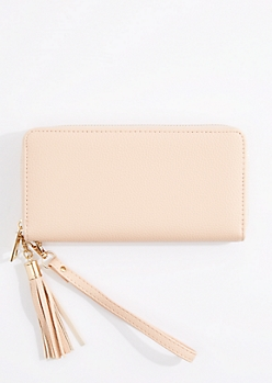 Ivory Tasseled Faux Leather Wristlet