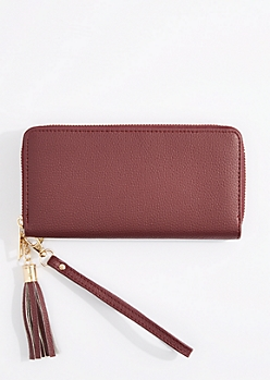 Purple Tasseled Faux Leather Wristlet