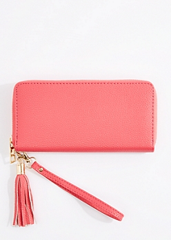 Coral Tasseled Faux Leather Wristlet