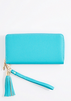 Turquoise Tasseled Faux Leather Wristlet