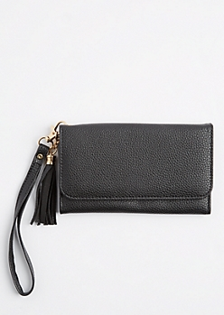Black Tasseled Mirrored Phone Wristlet
