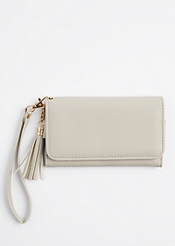 Gray Tasseled Mirrored Phone Wristlet