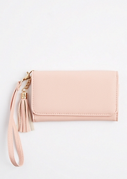 Pink Tasseled Mirrored Phone Wristlet