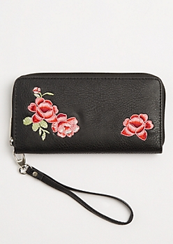 Floral Embroidered Wristlet