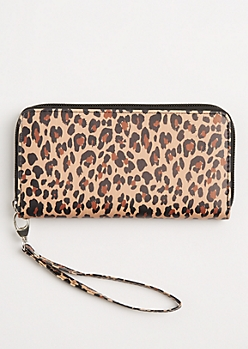Leopard Faux Leather Wristlet