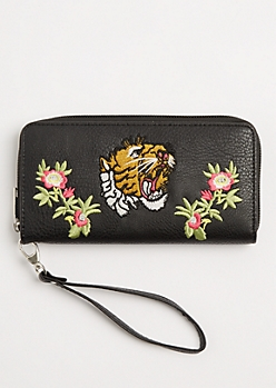 Tiger Floral Embroidered Wristlet