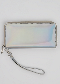 Silver Holographic Wristlet