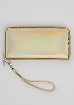 Golden Holographic Wristlet