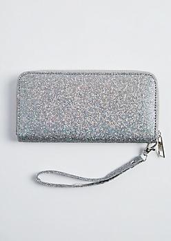 Silver Glitter Wristlet
