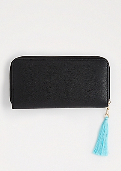 Black Tassel Charm Wallet