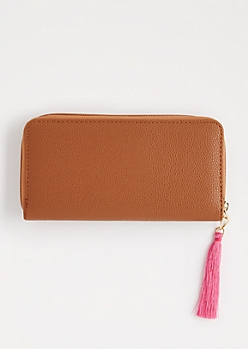 Cognac Tassel Charm Wallet