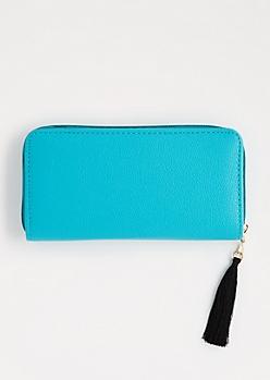 Turquoise Tassel Charm Wallet