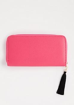 Fuchsia Tassel Charm Wallet