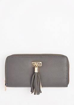 Gray Tassel Fringe Charm Wallet