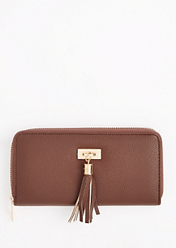Brown Tassel Fringe Charm Wallet