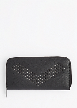 Black Studded Chevron Wallet